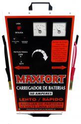 Carregador de Bateria 50A 12V com Auxiliar de Partida 2 Relogios MX2 Maxfort